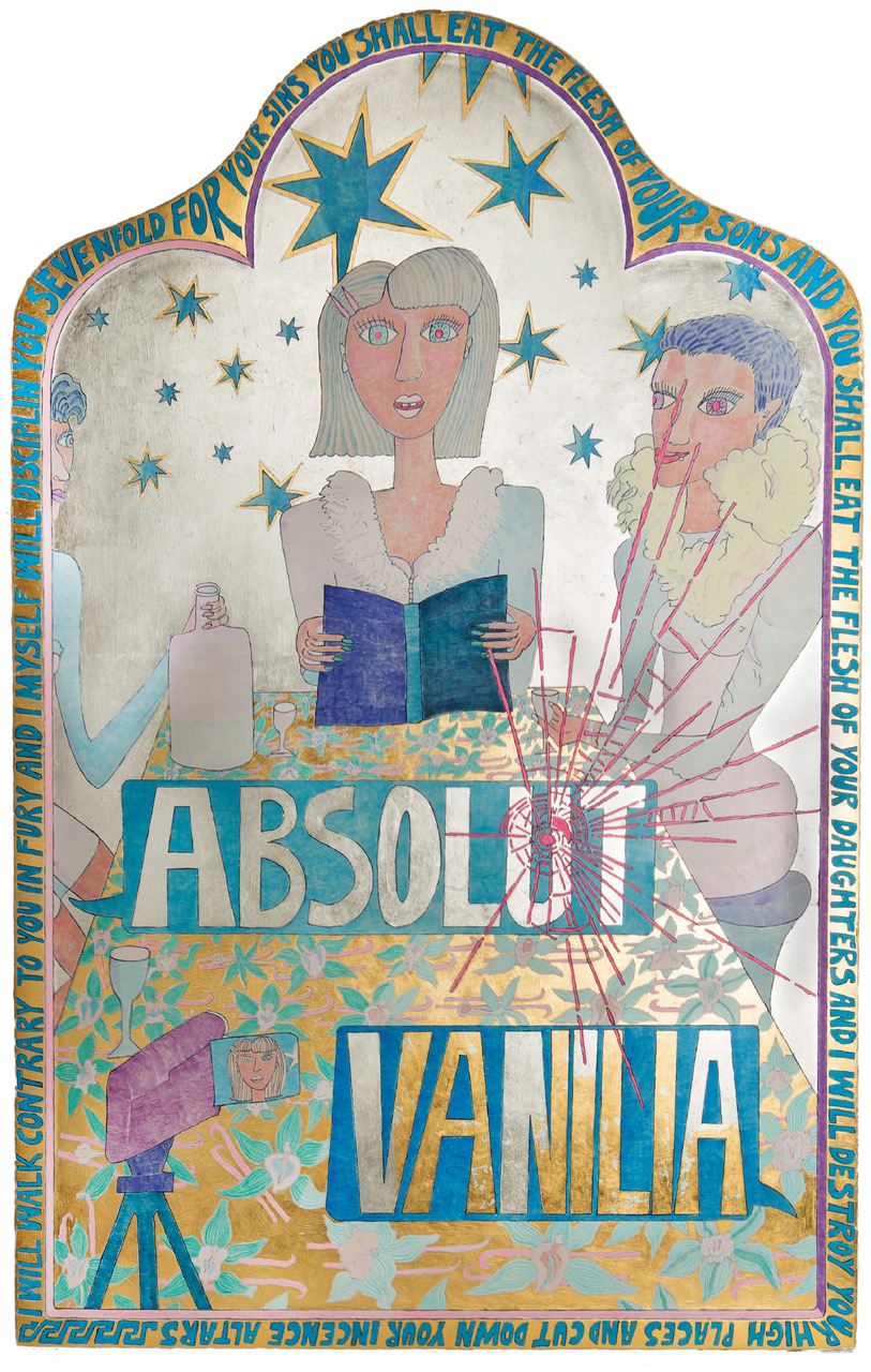 Absolut Vanilla (Advertisement) · 2018 · egg tempera and gold leaf on wood · 100 x 64 cm