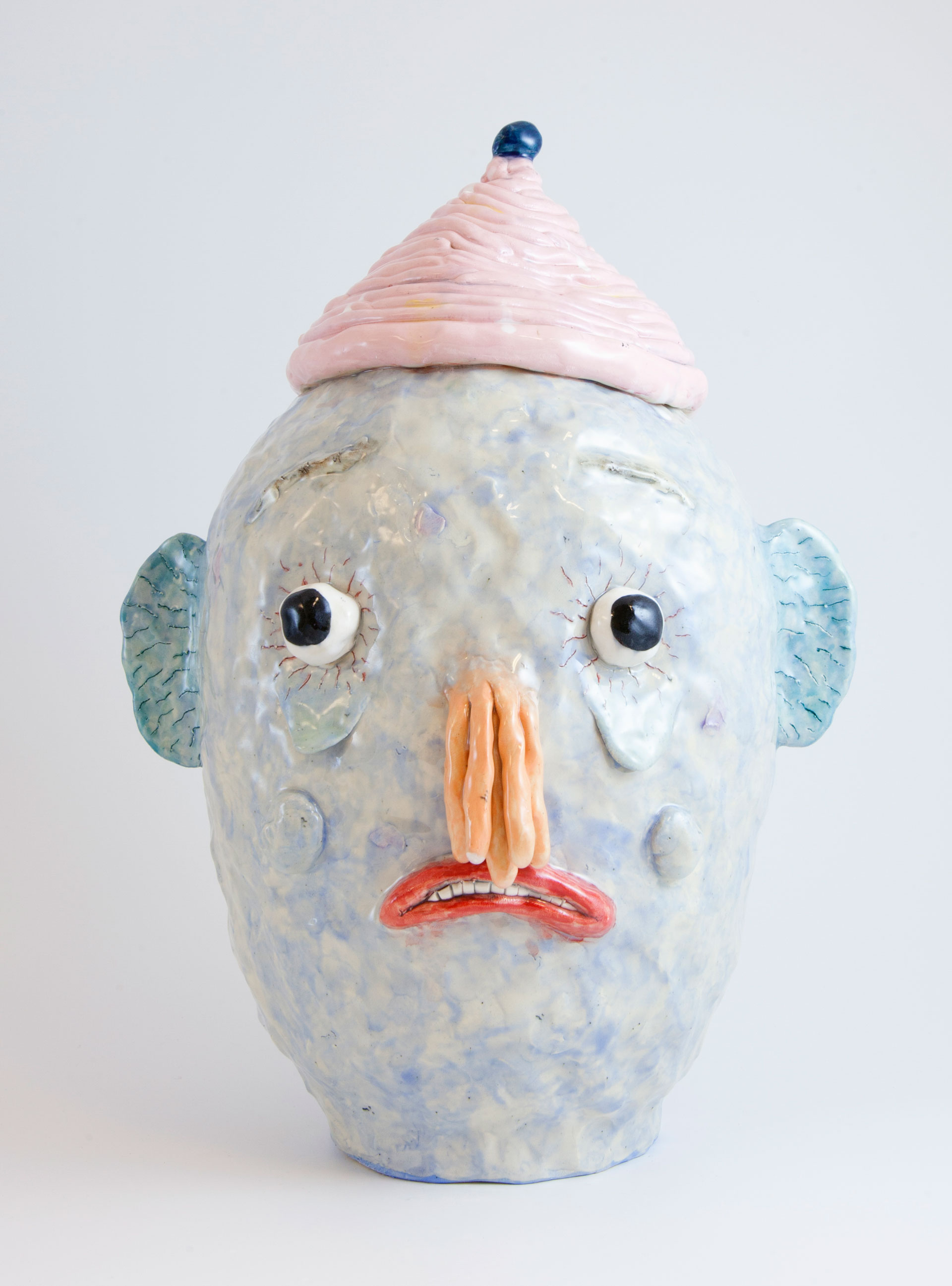 Blue-Head-with-Orange-Tentacles-Nose-·-2018-·-Glazed-ceramic-·-38-x-29-x-23-cm