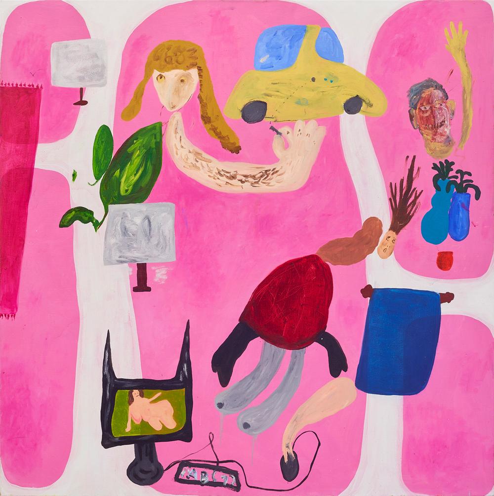 Janes Haid-Schmallenberg, Der Lauf der Dinge (Zause ist manchmal auf funny), Oil and acrylic on canvas, 170 x 170 cm