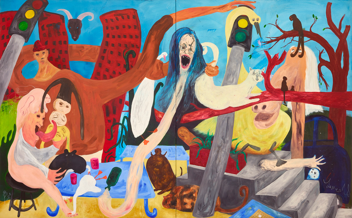Janes Haid-Schmallenberg, 2019, Early Invasion, Oil and acrylic on canvas, 210 x 340 cm