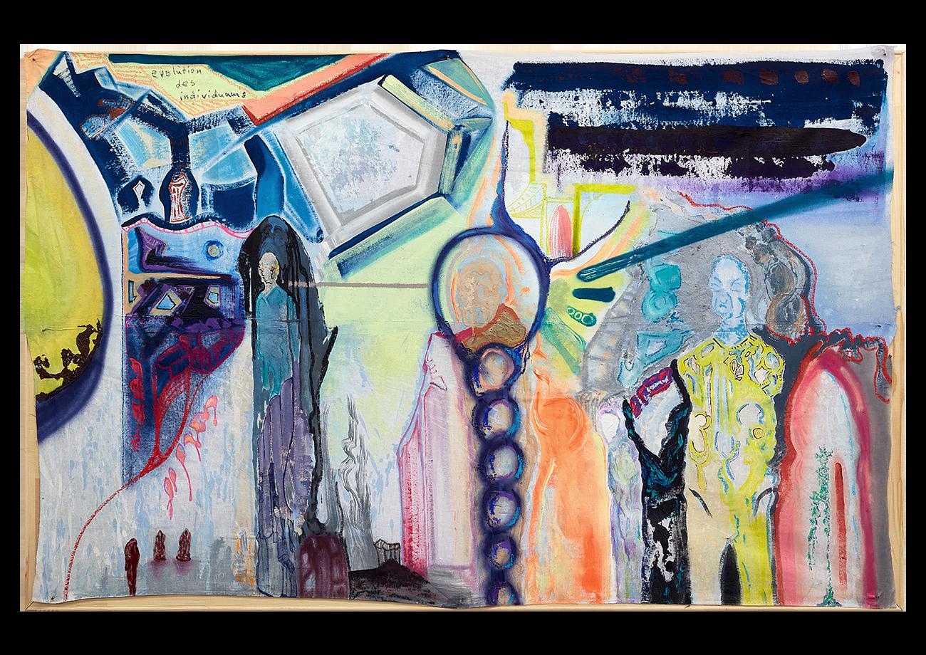 Ugur Ulusoy, cihan, acrylic, oil, pastel, oil crayon, spray-paint, ink and latex on textile, 104 x 165 cm