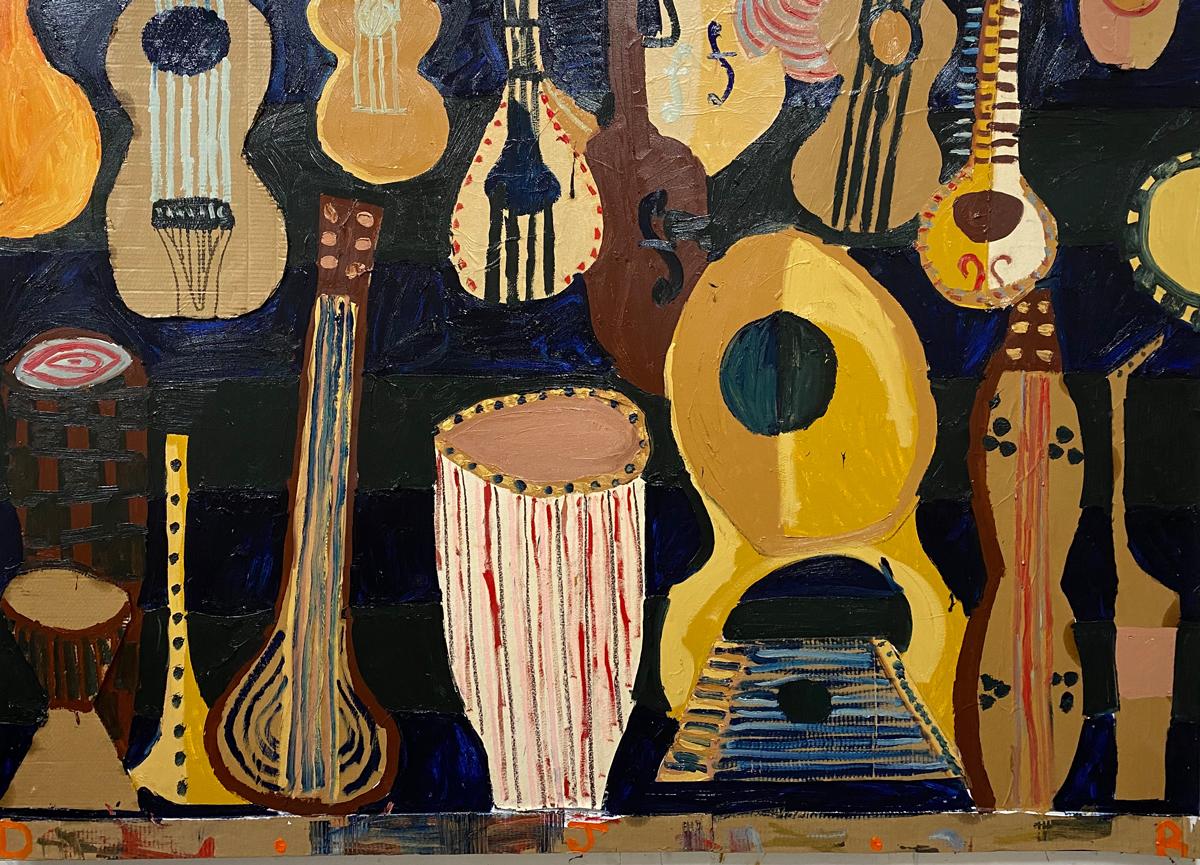 Cacophony-2020-oil-colalg-cardboard-acrylic-and-oil-bar-on-canvas-213×152