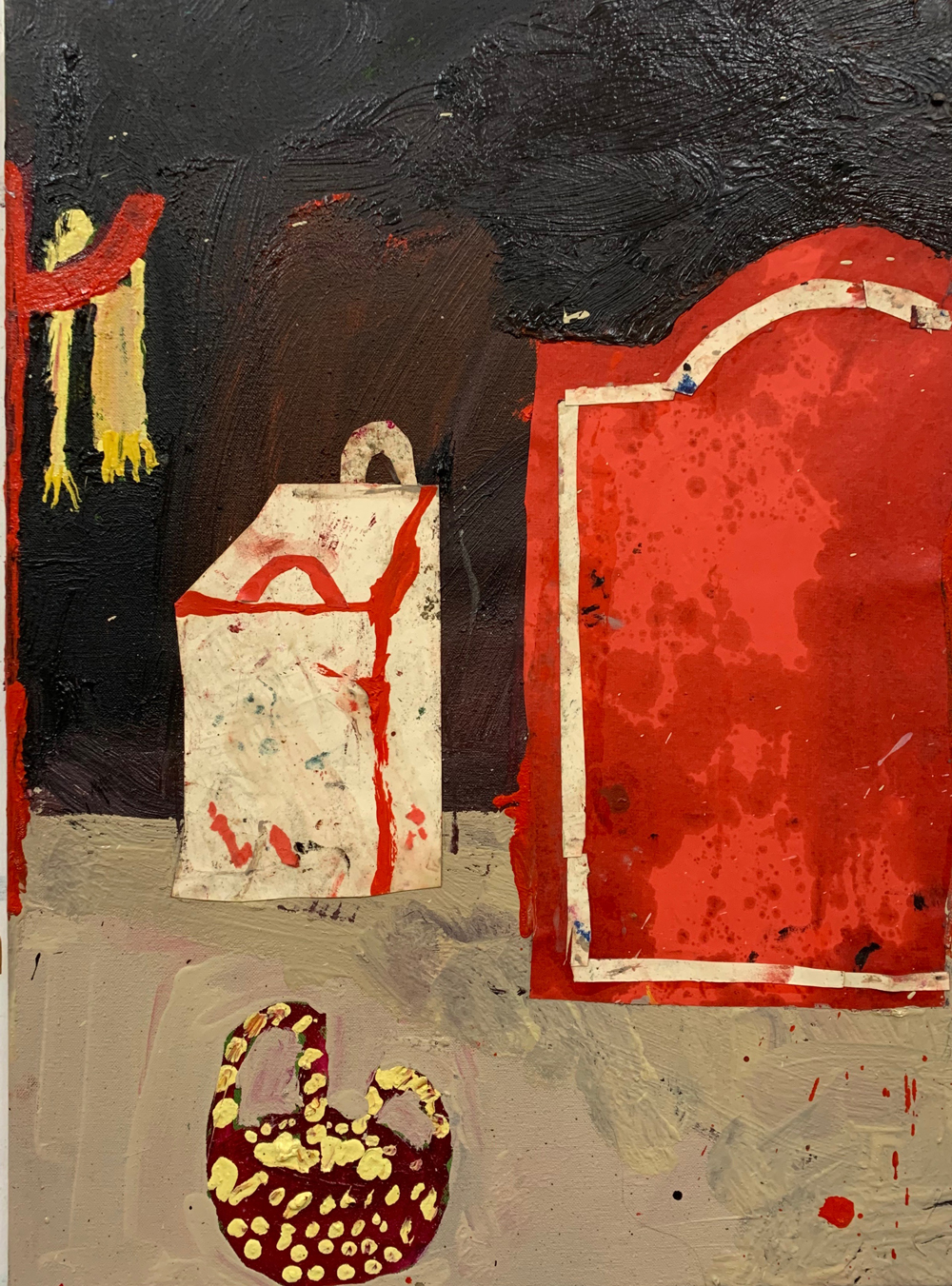 Florence-Hutchings-The-Black-Wallpaper,-2020,-oil-paint-and-collage-on-canvas-41x56cm
