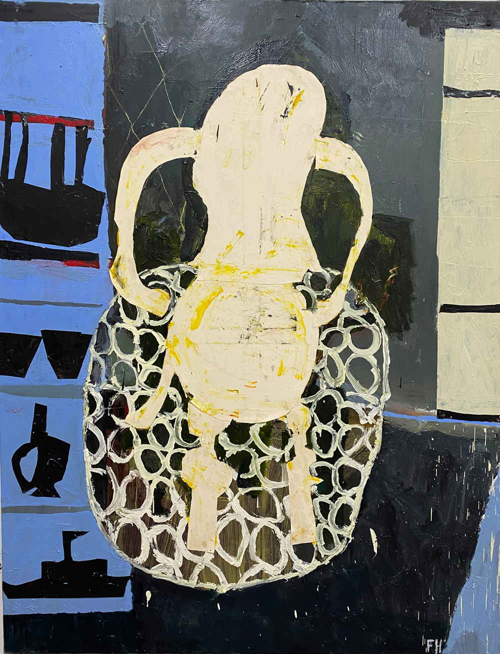 Florence-Hutchings,-The-Chair-at-Night,-2019-2020.-Oil-paint,-collage-and-oil-bar-on-canvas.-180x140cm