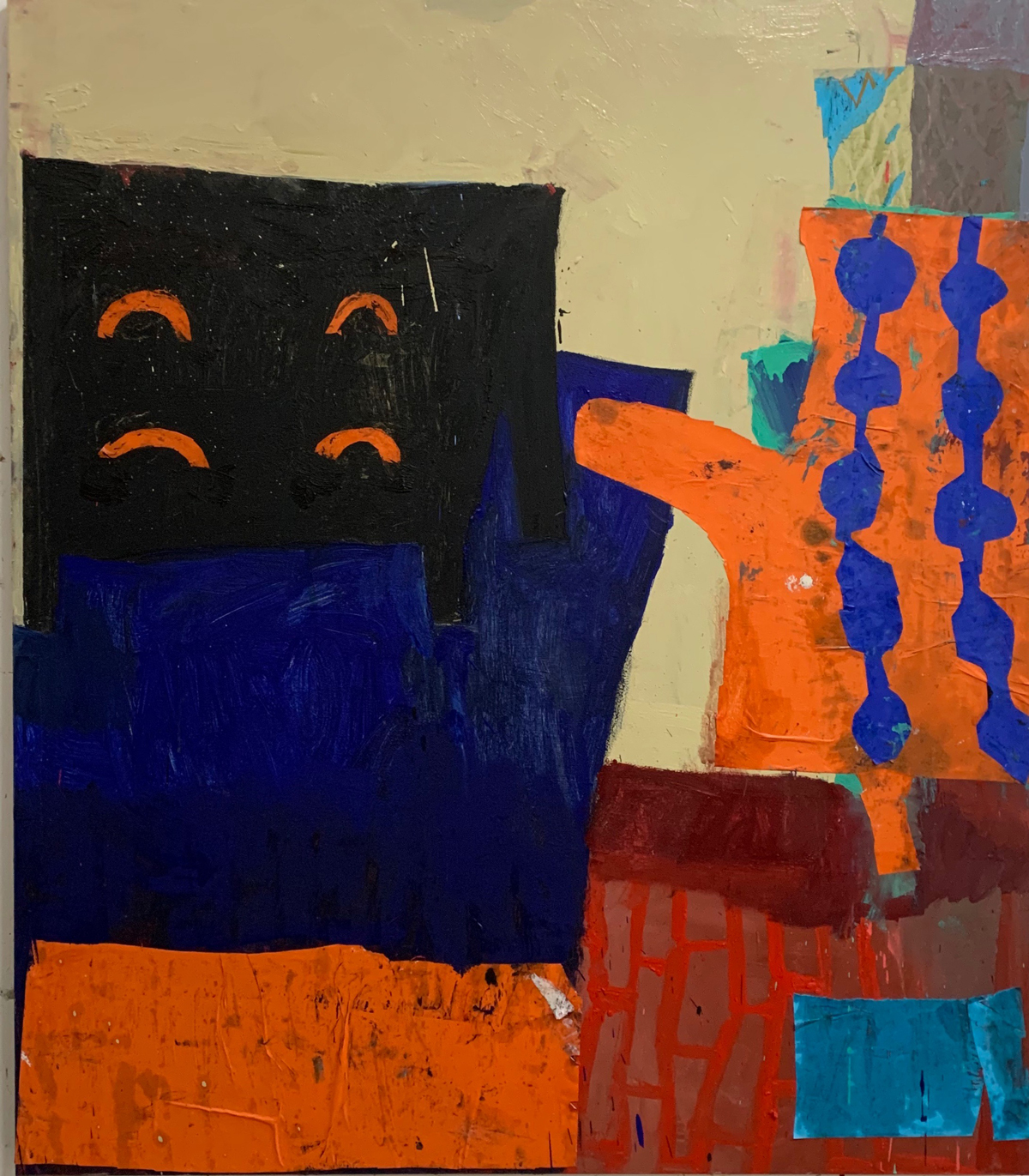 Florence-Hutchings,-The-Orange-Armchair,-2020-Oil-paint-and-collage-on-canvas-150x130cm