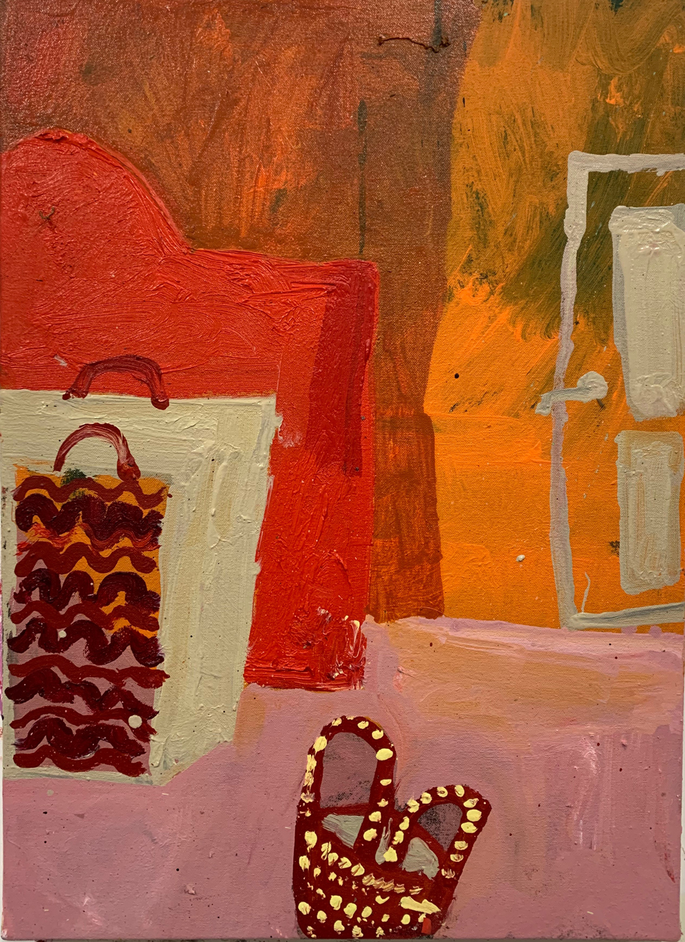 Florence-Hutchings,-The-Orange-Wallpaper,-2020,-oil-paint-on-canvas.-41x56cm 2