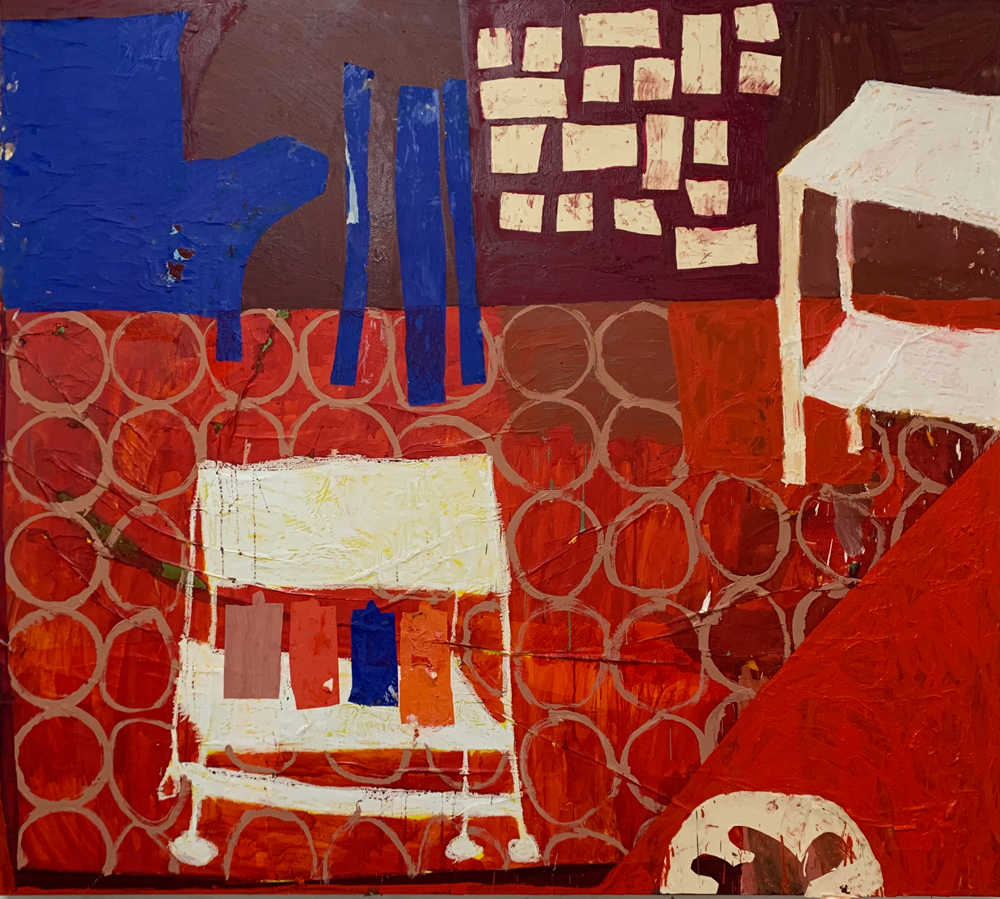 Florence-Hutchings,-The-Painting-Trolley,-2020.-Oil-paint,-collage-and-oil-bar-on-canvas,-190x170cm