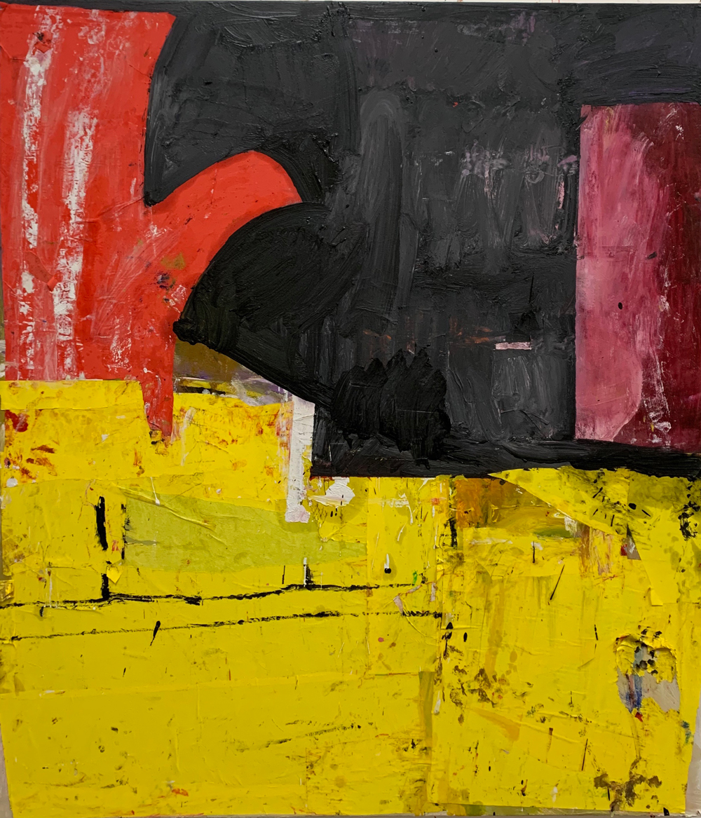 Florence-Hutchings,-The-Red-Armchair,-2020-Oil-paint-and-collage-on-canvas,-150x130cm-