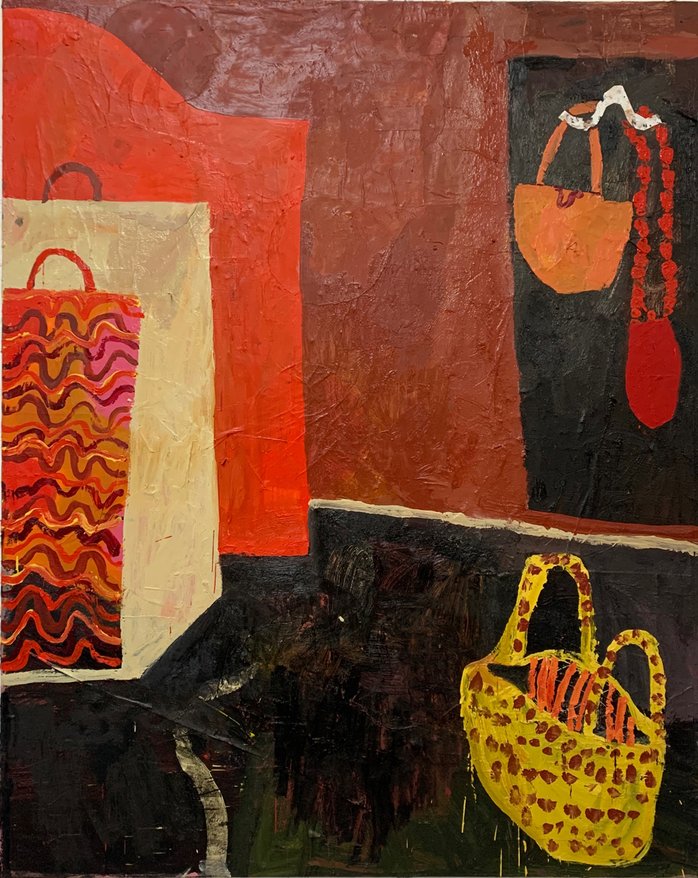 Florence-Hutchings.-The-Laundry-Basket,-2020.-Oil-paint-and-collage-on-canvas.-175x140cm