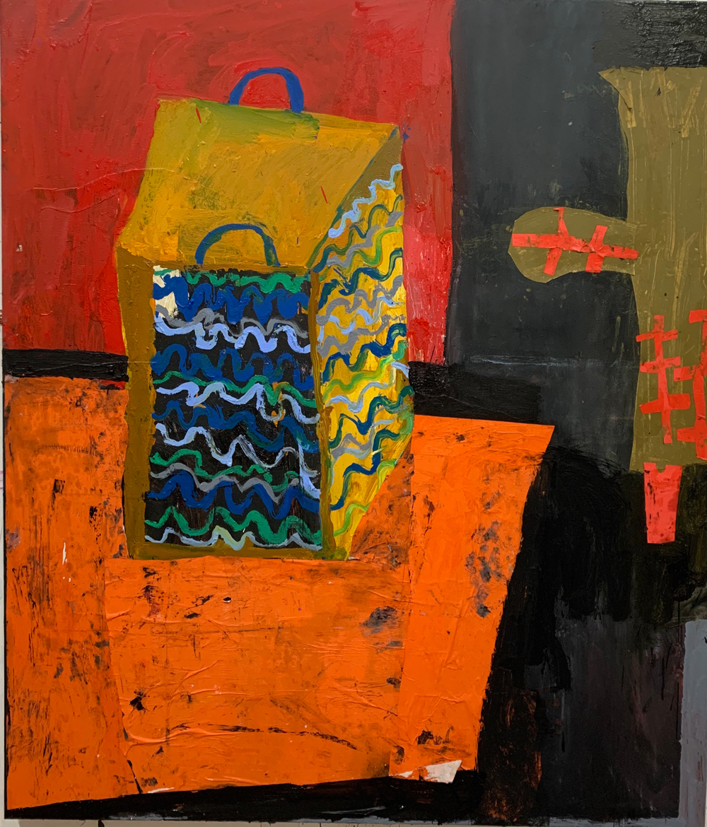 Florence-Hutchings.-The-Ochre-Armchair,-oil-paint-and-collage-on-canvas.-150x130cm-