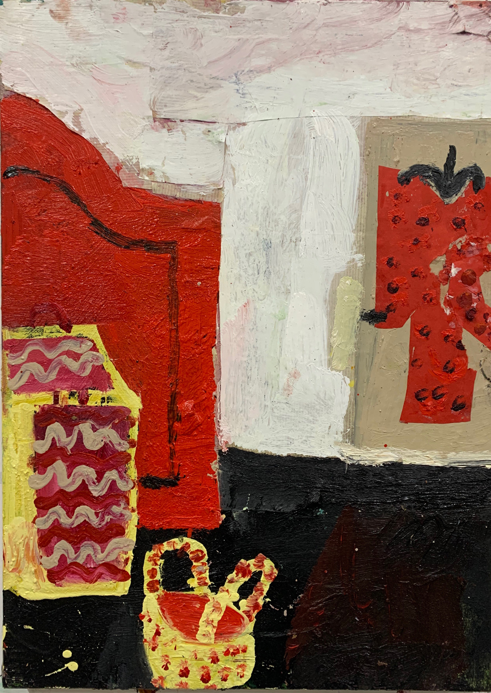 Florence-Hutchings.-The-White-Wallpaper,-2020-oil-paint-and-collage-on-canvas-56x41cm