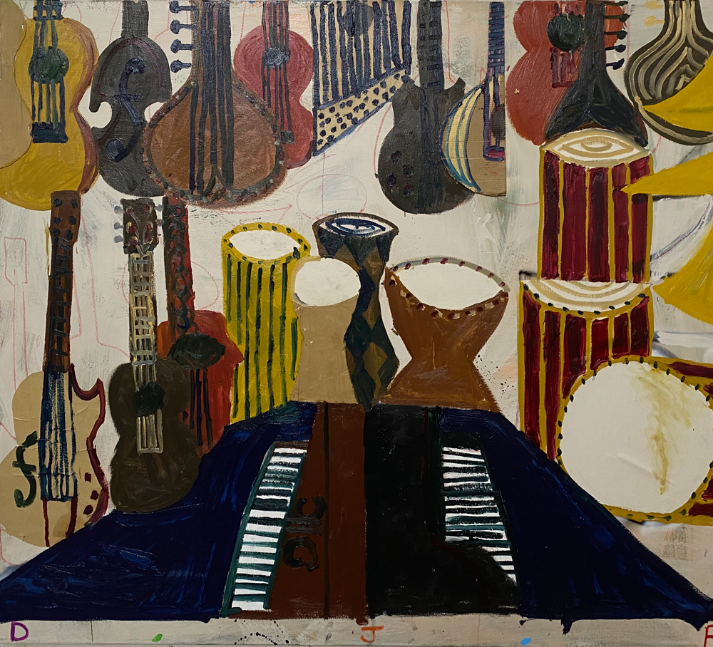 Inside-the-music-shop-2020-oil-acrylic-oil-bar-colalge-cardboard-on-canvas-170x150cm