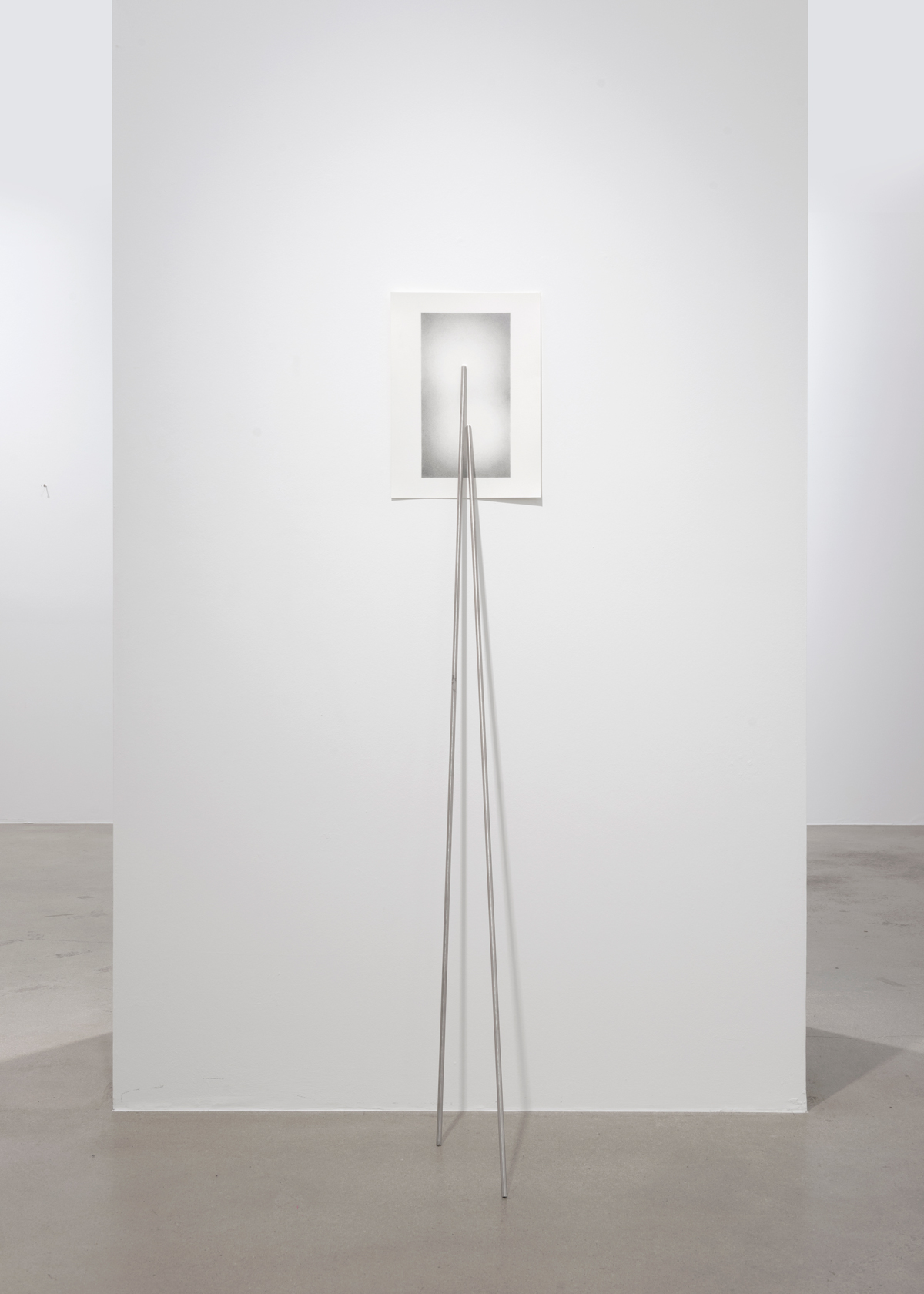 Kate Andrews, Prop I, 2021, Stainless steel and graphite on paper 42 x 29,7 cm (A3 paper) 150 cm (steel rods)