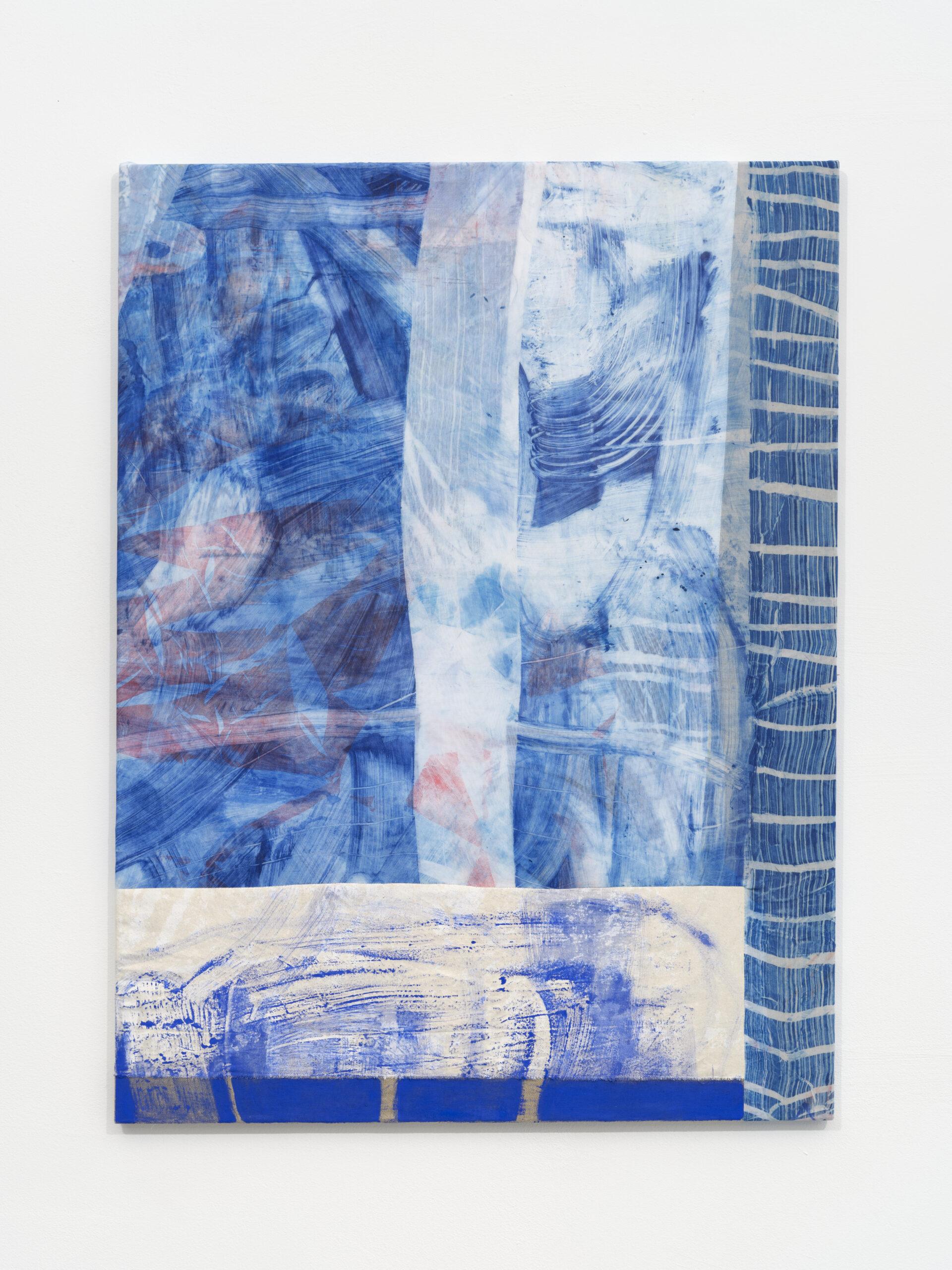 Emma_ Løkke_ Moving birches_2021_ Öl und Linolfarbe auf unterschiedlichen Stoffen_ 100 x 75 cm