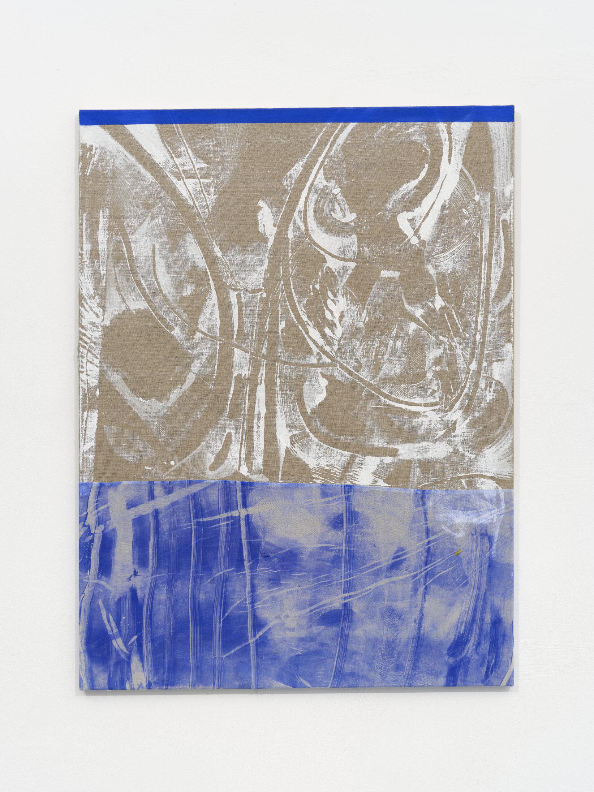 Emma_ Løkke_ Telling me of elsewhere_2021_ Öl und Linolfarbe auf Stoff und Leinen_ 100 x 75 cm