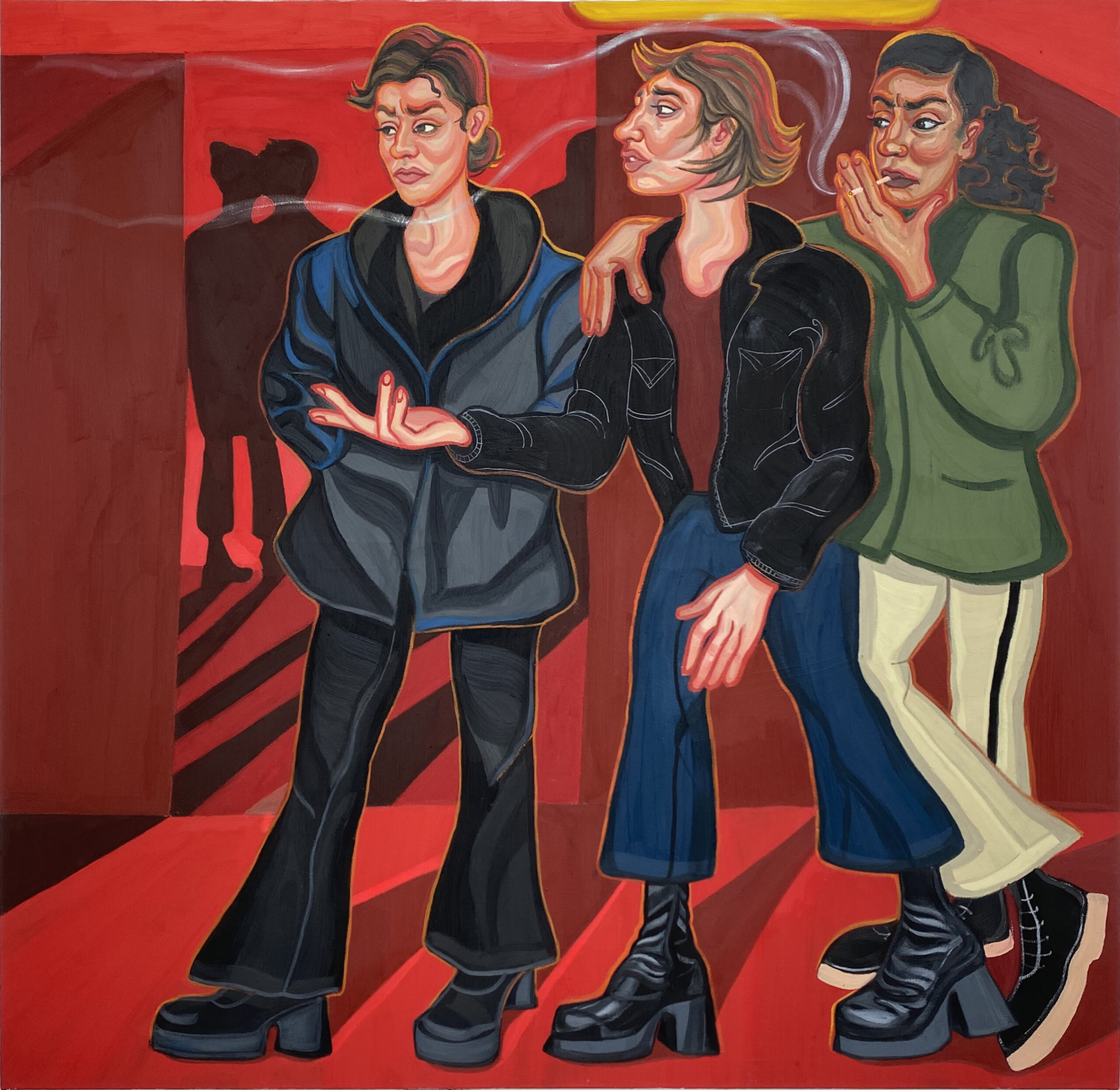 Ania Hobson, 2021, Outside Bar, oil:impasto on canvas, 190 x 180 cm_low