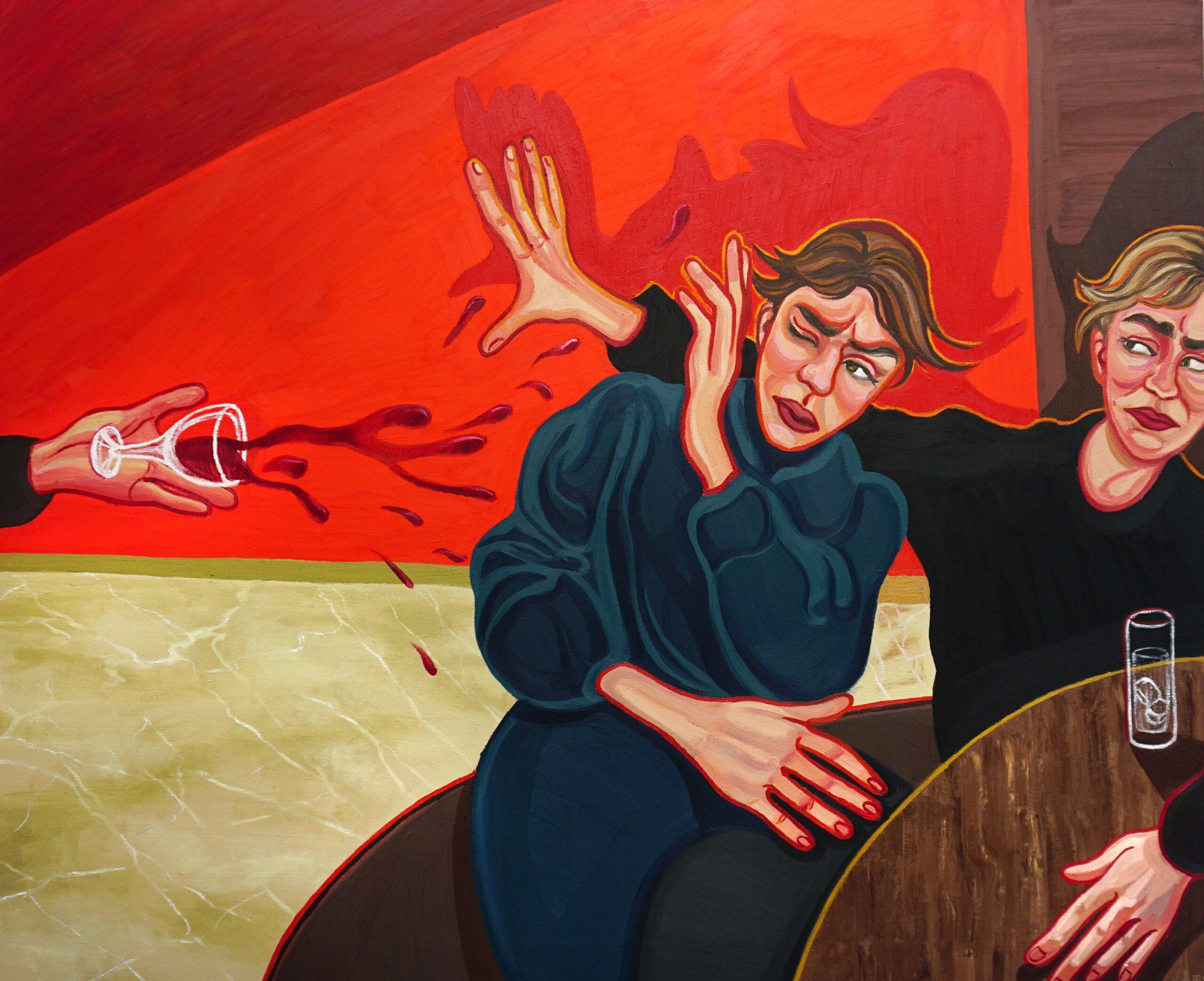 Chucking Drink, 2021, 140 x 130 cm, oil on canvas