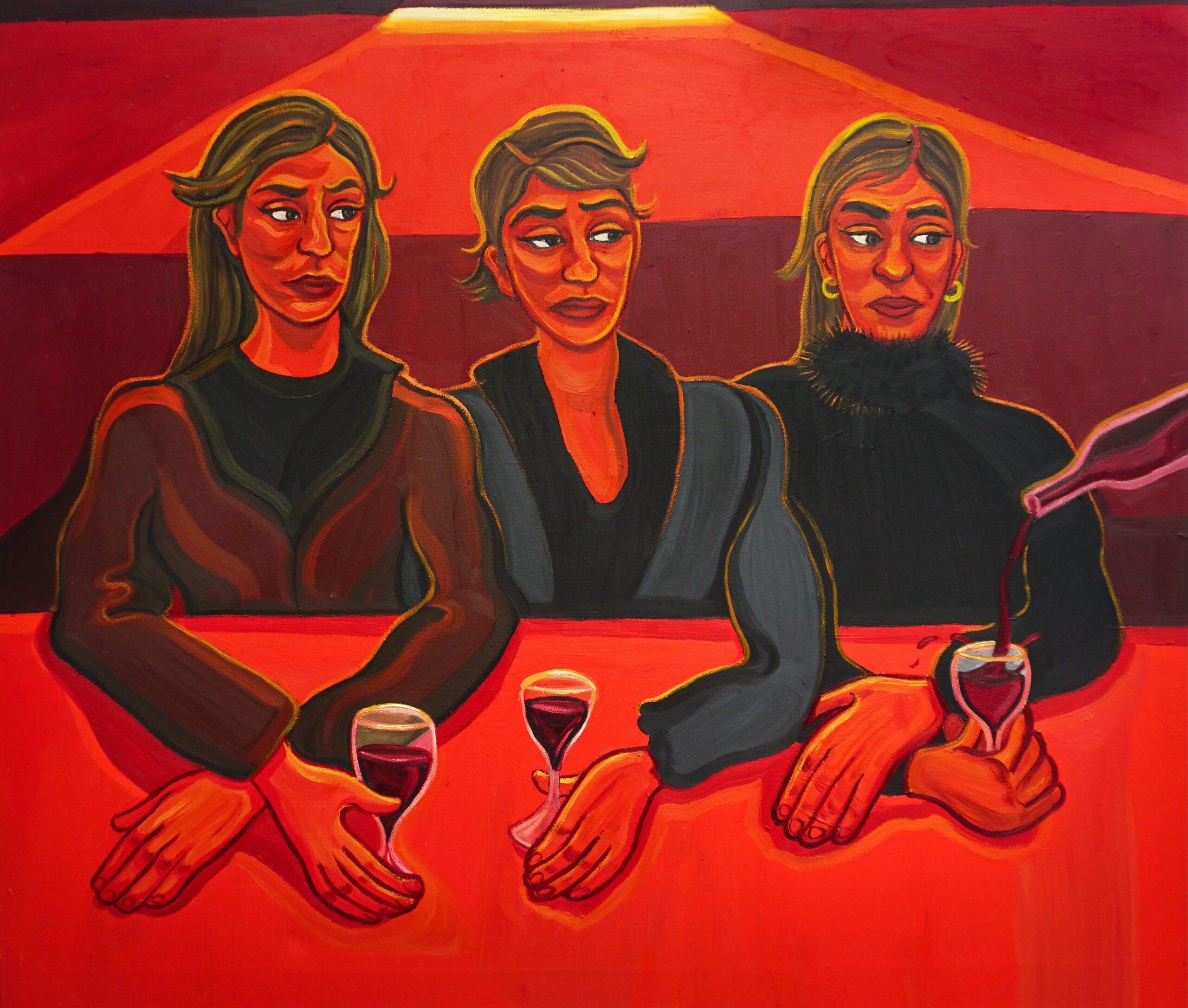 Red Wine Ladies, 2021, 140 x 120 cm, oil on canvas